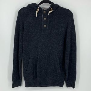 LOGG gray hooded sweatshirt S button front